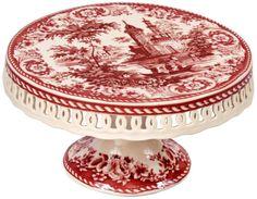 Red Transferware Cake Stand $39.91 www.CakeStandsGallery.com
