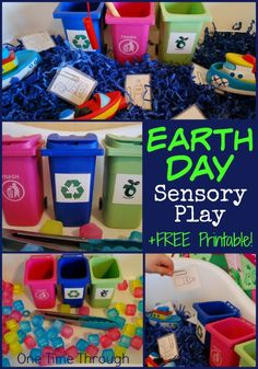 Find 2 unique EARTH DAY sensory bin ideas - perfect for teaching young children about taking care of the environment through recycling, composting and reducing waste. Includes a FREE printable garbage sorting sheet. {One Time Through} Montessori, Earth Day Activities, Science Activities, Spring Activities, Therapy Activities, Sensory Bins, Sensory Play, Sensory Table, Recycling Activities For Kids