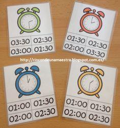 Hoy os enseño unas tarjetas que tengo para practicas las horas. Como en 1º sólo trabajamos la hora en punto e y media (tanto en el reloj ana...