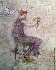 Woman Pouring Perfume into a Phial (fresco). Roman, (1st century AD) / Museo Nazionale, Rome, Italy / Giraudon / The Bridgeman Art Library