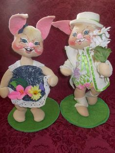 Annalee Easter Bunnies 13 Inches Tall Boy and Girl Bunny Spring Time  #Annalee #Dolls