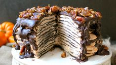Chocolate Crepe Cake with Pumpkin Mascarpone Cream Filling