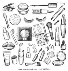 Hand drawn Beauty and makeup icons set with mascara, lipstick, creams, nail polish, powder, eye shadow, blush, brushes, glitter, lip - stock vector