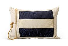 Blue & White Striped Signal Flag Pillow