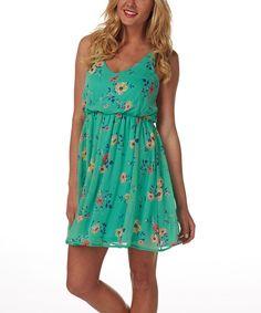 Look at this #zulilyfind! Mint Green Floral Blouson Dress by Pinkblush #zulilyfinds