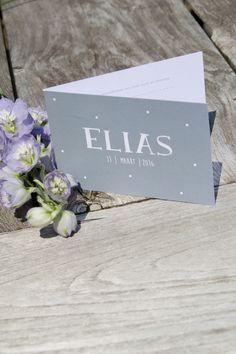 Geboortekaartje Elias - Ontwerp door Leesign #leesign #geboortekaart #elias #fairepart #naissance #birth #card #announcement #earlydew #dots #stippen