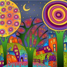 Cottage Art, Funky Art, Arte Popular, Naive Art, Whimsical Art, Art Plastique, Tree Art, Fabric Painting, Doodle Art