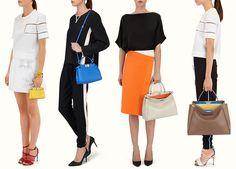 The Ultimate Bag Guide: The Fendi Peekaboo Bag. Right to left: Large, Regular, Mini, Micro