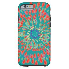 Monogram Modern Flower Teal iPhone Case Tough iPhone 6 Case