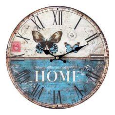 Relógio De Parede Borboleta Oldway Azul                                                                                                                                                                                 Mais