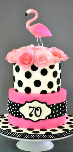 Pink Flamingo and Polka Dots Cake                                                                                                                                                                                 More