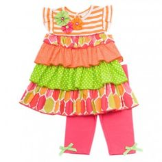 Infant Mixed Print Dress With Legging