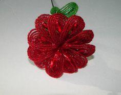 horquillas flor cuentas color rosa melocotón por BeadFloraJewels