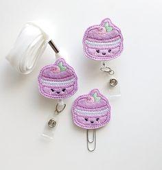 Lavender Macaroon Cookie Felt Paperclip | Badge Reel | ID Badge | Felt Badge | Badge Holder | Lanyard | Planner Clip | Food Feltie