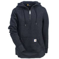 When the temperature drops you will want to curl up with this Carhartt quarter-zip hoodie.  Comfort, style, and quality all rolled into one.    #Carhartt #Women #Fashion #WorkingPerson #Hoodie #FallFashion