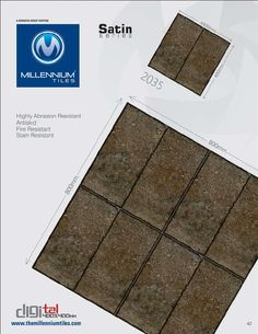CF Tile Design 2035 - Millennium Tiles 400x400mm (16x16) Digital #Ceramic #Outdoor CF Satin #Tiles  - Highly Abrasion Resistant  - Antiskid  - Fire Resistant  - Stain Resistant - Full Body Tiles: Keeps the aesthetic value of the product intact even under extreme conditions like chipping, scratching and fading in heavy traffic areas such as Shopping Complexes, Airports, Public/Administrative Buildings, Workshops, Shopping Malls, Train Stations, Hospitals, Hotels, Restaurants/Cafes, Schools…