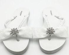 5285583a8d592 WEDGE Wedding Flip Flops - Bridal Wedge Flip Flops - Pearl and Rhinestone  Flip Flop - Bling Flip Flops - Beach Wedding Platform Flip Flops