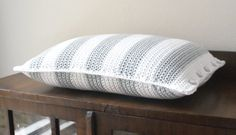 Grey and white striped crochet pillow/cushion