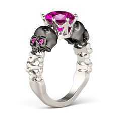 2-tone Two-skull Design Round Cut Created Rose Sapphire Rhodium Plated Sterling Silver Skull Ring