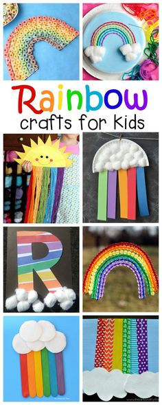 Crafts for Kids Lots of great rainbow crafts that kids can make for spring, summer, St. Patrick's Day or letter R.Lots of great rainbow crafts that kids can make for spring, summer, St. Patrick's Day or letter R. Daycare Crafts, Toddler Crafts, Diy Crafts For Kids, Fun Crafts, Craft Ideas, Summer Crafts For Toddlers, Spring Crafts For Preschoolers, Project Ideas, Summer Arts And Crafts