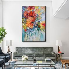 Abstract Flower framed wall art Paintings On Canvas Extra Large colorful heavy textured water color palette knife oil floral painting