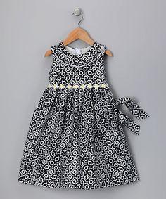 Black & White Circle Daisy Dress - Infant, Toddler & Girls