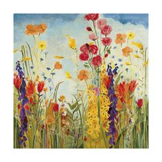 Bring a sense of joy to any room with this contemporary floral canvas art by Jill Martin. This large painting features a colorful floral print on canvas. With a UV coating, Laughter makes a long-lasting, beautiful addition to your home decor. Framed Art Prints, Painting Prints, Canvas Prints, Large Painting, Art Mural Floral, Art Encadrée, Arte Popular, Contemporary Paintings, Oeuvre D'art