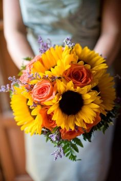 Bridesmaid bouquet - sunflowers with hints of orange