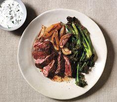 Skirt Steak With Roasted Shallots, Broccolini, and Horseradish Sauce