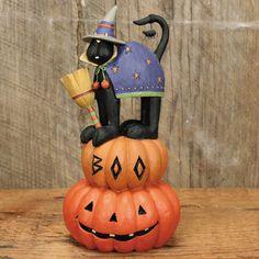 Black Cat Standing on Pumpkins Halloween Figurine