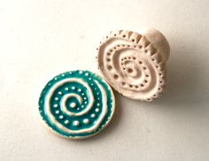 Ocean Whirlpool Spiral with Dots -- Clay Texture Stamp for Pottery Ceramics Polyclay