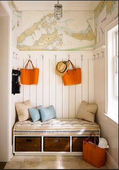 Mendelson Group: Delightful mudroom design featuring world map wallpaper and white wood panel walls. Les Hamptons, Map Wallpaper, Bathroom Wallpaper, Nautical Wallpaper, Home Decoracion, Ideas Para Organizar, Cottage Gardens, Beach House Decor, Beach Houses