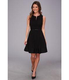 Calvin Klein Eyelet V-Neck Fit & Flare Dress Black - 6pm.com
