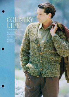a54fd8f24 PDF Vintage Knitting Pattern Man s Casual EASY Aran Cardigan Jacket Chest 96-111  cm