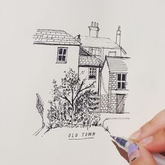Spying on ancient houses 🌼🌸🌷 Drawing Quotes, Book Drawing, Drawing Sketches, Drawings, Building Sketch, Art Boards, Artsy Fartsy, Illustration Art, Illustrations