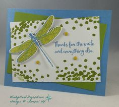 I, too, picked up on the wonderful colors in Connie's beautiful floral card.   I finally inked up my Dragonfly Dreams in Marina Mist...