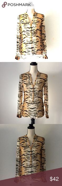 Zara Tiger Print Shirt Like new only wore two times Zara Tops Blouses