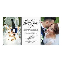 #Swirly Script Two Wedding Photos Thank You Card - #wedding gifts #marriage love couples