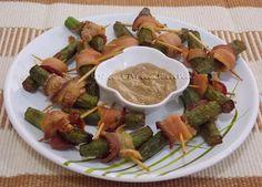 Espetinhos de Quiabo com Bacon - Na Biroskinha