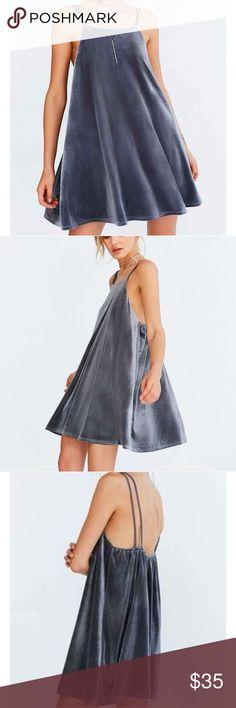 UO- Kimchi Blue Strappy Back Velvet dress- NWOT Cozy elastic back double strap velvet dress Urban Outfitters Dresses Mini