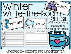 FREE Winter Write The Room Print and tape these wintery words around your room for a low prep but high engagement literacy center! Included are two versions of the recording sheet and two versions of a writing extension to meet your students' needs.