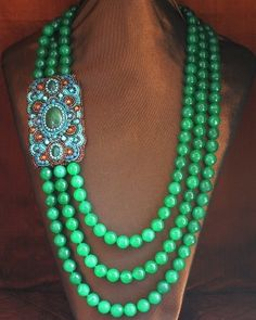 3 Strand Green agate Side Panel Statement Necklace