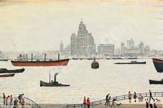 LOWRY Laurence Stephen - The liver buildings, Liverpool Liverpool Waterfront, Liverpool Town, Liverpool Docks, Liverpool History, Liverpool 2016, New Brighton, Spencer, English Artists, Gcse Art