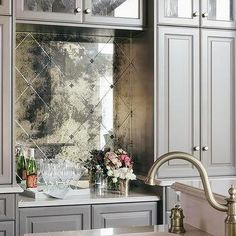 Gray Bar with Antiqued Mirrored Tiles