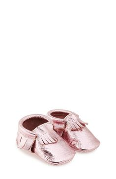 Freshly Picked Metallic Leather Moccasin (Baby & Walker) | Nordstrom