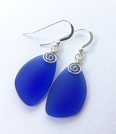 Cobalt Blue Swirl Sterling Silver Earrings, Sea Glass Earrings, Cobalt Blue Earrings, Gift for her, Dangle Earrings, Sterling Silver Earrings, July 4th Jewelry
