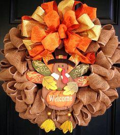 Thanksgiving Welcome Turkey Wreath