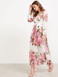 Beyaz Pembe Çiçek Desenli Uzun Şifon Elbise
