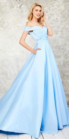 Glamorous Satin Off-the-shoulder Neckline A-line Prom Dress With Belt & Pockets