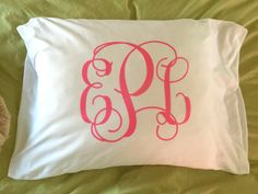 Monogrammed Pillowcase - Personalized Pillowcase - Graduation Gift - Slumber Party Favor - Monogram PIllow by MJMonograms on Etsy